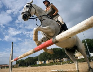Jumping a horse